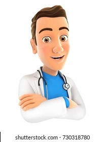 3d doctor with arms crossed, illustration with isolated white background