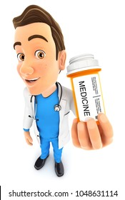 3d doctor holding medicine pills bottle, illustration with isolated white background
