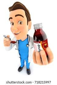 3d doctor holding syrup bottle and spoon, illustration with isolated white background