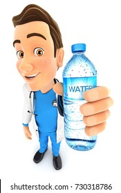 3d doctor holding water bottle, illustration with isolated white background