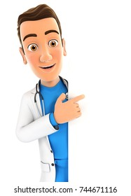 3d doctor pointing to right blank wall, illustration with isolated white background