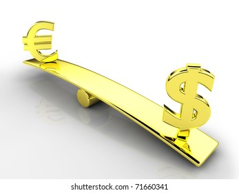 3d dollar and euro signs on a balance