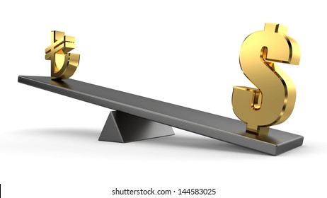 3d Dollar and Turkish Lira on seesaw with white background