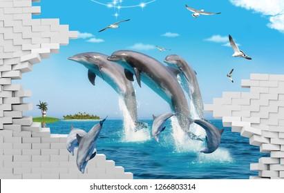 3D Дельфин Рыба Дизайн