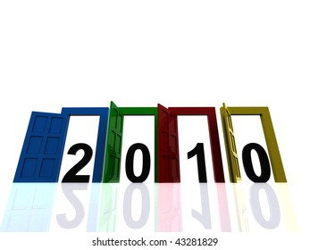 3d door with 2010 icon on isolated background