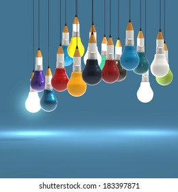 3d drawing idea pencil and light bulb concept creative and leadership as concept