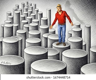3D drawing showing anamorphic cylinders with human model wearing red shirt