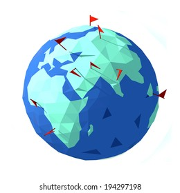 3d earth with flags
