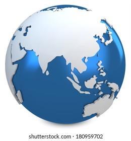 3d earth globe blue on white background