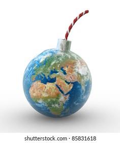 3d earth globe in shape of a bomb. 3d render illustration