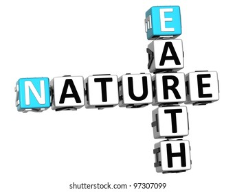 3D Earth Nature Crossword text over white background