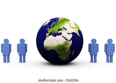 3d earth and symbolic men surrounding it