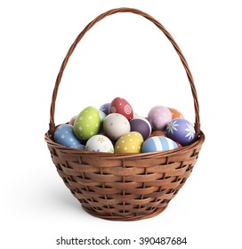 3D Easter basket filled with colorful eggs. Isolated on white background