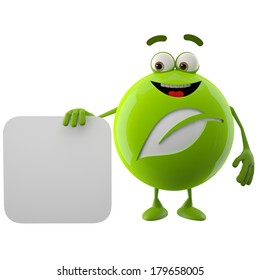 3D ecological character, funny icon, green leaf logo, eco nature button, isolated on white background