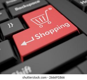 3D. E-commerce, Shopping, Shopping Cart.