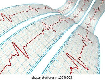3d electrocardiography / ECG on the Powder Blue grid paper