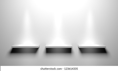 3d Empty book shelves for exhibit
