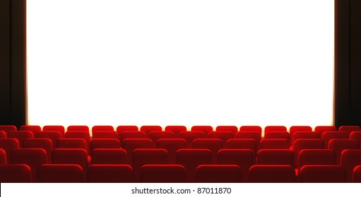3d Empty cinema screen with auditorium