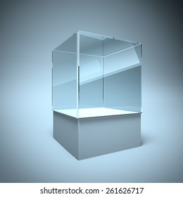 3d Empty glass showcase box for exhibit and presentation