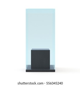 3d Empty glass showcase for exhibit. gray background.
