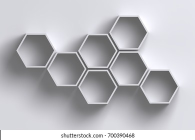 3D empty honeycomb hexagon shelves on white wall with shadow - product or presentation template