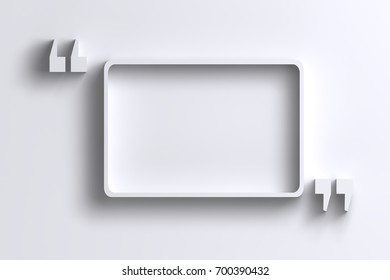 3D empty quotation marks frame on white wall with shadow