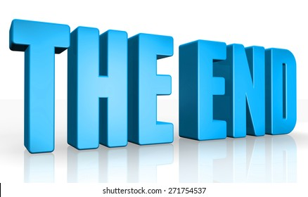 3D the end text on white background
