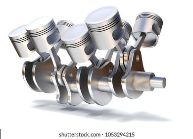 3d engine, crankshaft and pistons, render