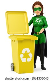 3d environment people illustration. Woman superhero of recycling standing with a yellow bin for recycling. Isolated white background.