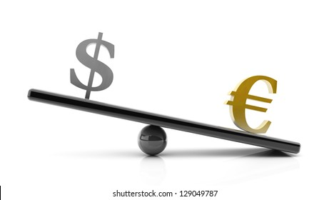 3d Euro to dollar gains on a scale, concept