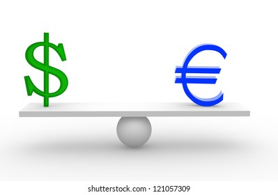 3d euro and dollar on scale board. 3d render