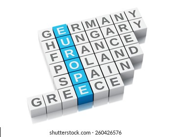 3d europe country concept. Crossword with letters. Isolated white background