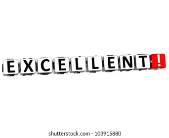 3D Excellent Button on white background