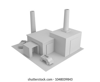 3d factory icon. Isometric black and white illustration