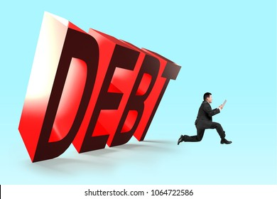3D falling DEBT word with running bussinessman, business debt concept.