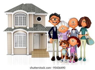 3D family with a house behind them - isolated over a white background