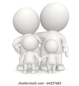 3D family - isolated over a white background