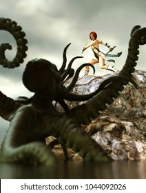3d fantasy illustration,female warrior being attack by a sea monster,book cover or book illustration concept background