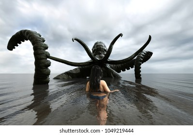 3d fantasy illustration,Woman being attack by a sea monster,book cover or book illustration concept background