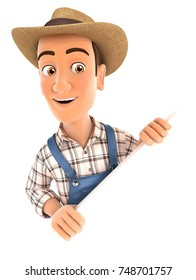 3d farmer behind diagonal wall, illustration with isolated white background