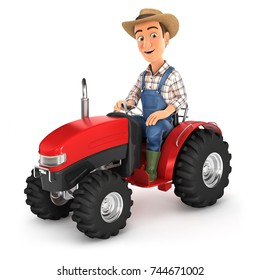 3d farmer driving tractor, illustration with isolated white background