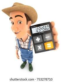 3d farmer holding calculator, illustration with isolated white background