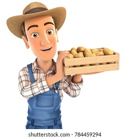 3d farmer holding crate of potatoes, illustration with isolated white background