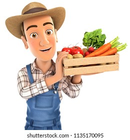 3d farmer holding crate of vegetables, illustration with isolated white background