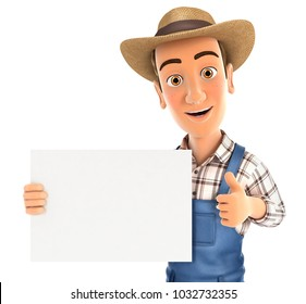 3d farmer holding placard with thumb up, illustration with isolated white background