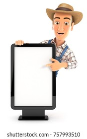 3d farmer pointing to blank billboard, illustration with isolated white background