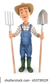 3d farmer with shovel and fork, illustration with isolated white background
