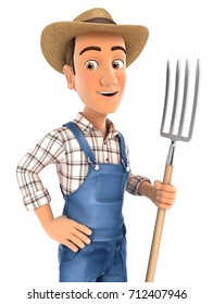 3d farmer standing up with fork, illustration with isolated white background