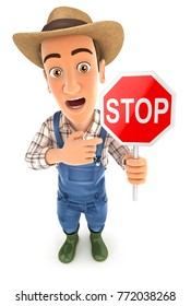 3d farmer stop sign, illustration with isolated white background