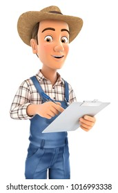 3d farmer writing on notepad, illustration with isolated white background